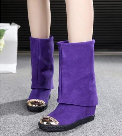 Top quality Fold Over Ladies Casual Shoes Height Increasing Wedges Shoes Suede Mid-Calf Boots Flat Platform Boots Women Winter autumn new designer metallic gold toe suede shoes casual height increasing wedges women booties rubber sole platform wedge boots