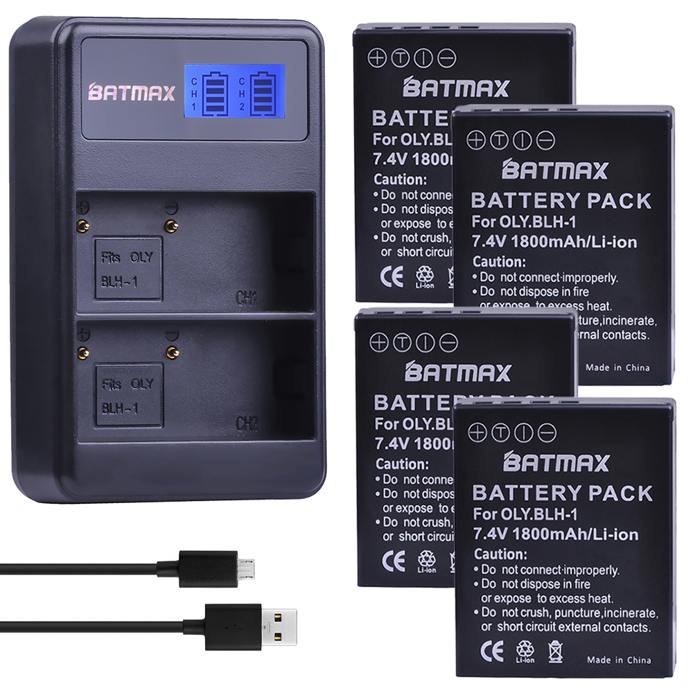 Batmax 4 Pcs 1800 mAh BLH-1 BLH1 Batterie accu + LCD Double USB chargeur pour Olympus Numérique Batterie EM1 MARK II EM1-2 EM1 Marque 2