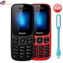 """Geschenk! Lingwin N1 Celular 1,77 """"GSM Dual Slot Handy 32 MB + 32 MB MP3 FM Taschenlampe Russische tastatur Älteren menschen Handy"""