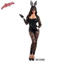 Black Sexy Bunny Rabbit Costume Cosplay Rabbit Bodysuit Erotic Fantasia Animal Halloween Costume