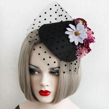 Fashion Lady Flowers Lace Veil Top Hair Clips Bridal Mini Top Hat Clip Lolita Burlesque Fascinator Hair Accessories 1