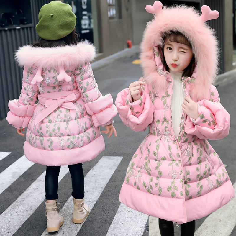 Kids Girls Winter Down Coat For Child Girl Deer Ear Hooded Thick Warm Parkas Jackets Long Teenage Leaf Outerwear Clothes 3-14Y kids girls long winter coats and jackets 2018 teenage girls parkas long hooded outerwear thick warm zipper jacket kids clothes