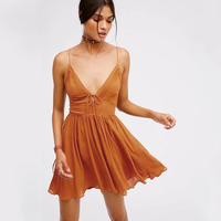 New Boho Dress 2017 Vintage Cotton Backless Lace Pleated Summer Beach Dresses Sexy Deep V Neck