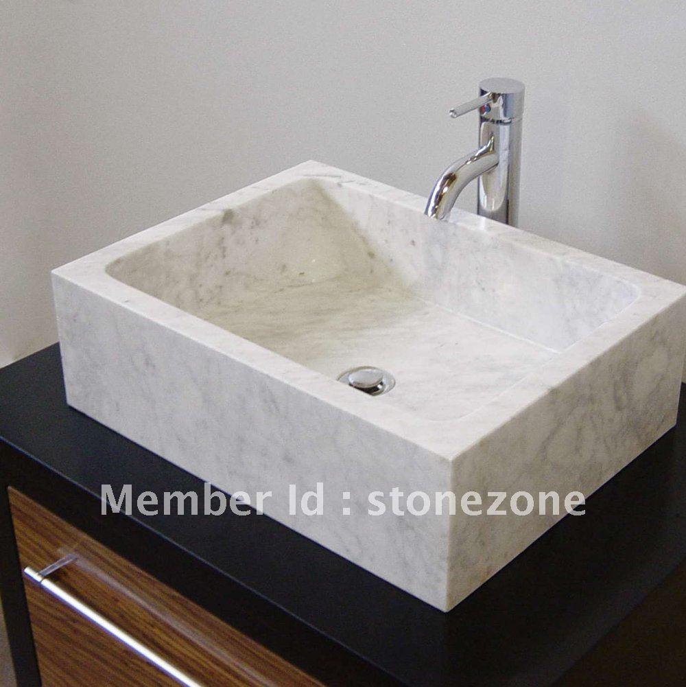 carrara white marble stone sink basin