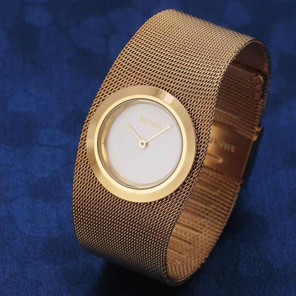 Neue Modemarke Frauen Gold Stahl Armband Quarz Luxus Weibliche Beiläufige Stilvolle Design Kette Band Uhr Damen Armbanduhren