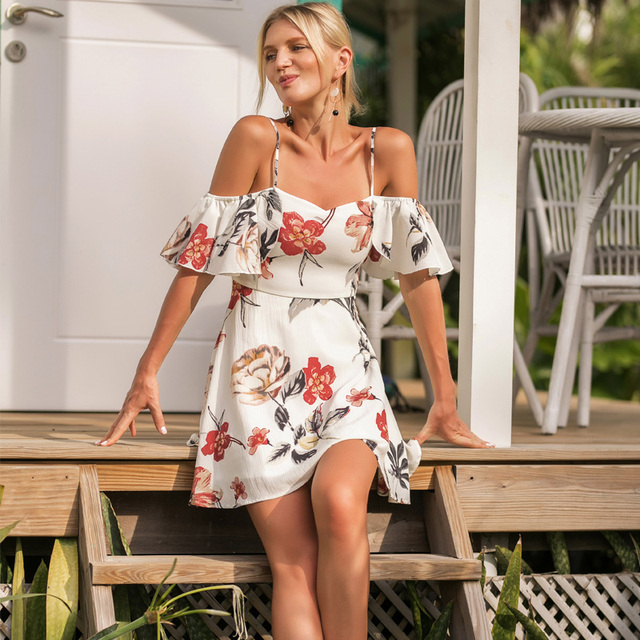 b7abc67651070 US $16.41 27% OFF|Off Shoulder Floral Dress Summer Strap Chiffon White  Dress Ruffle Tunic Beach Dress Female Casual Print Mini Dresses For  Women-in ...