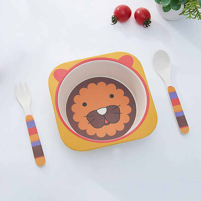 Bamboo Ware Baby Dishes Set 3pc/ set Bowl Spoon Fork Cartoon Animal Children's Dish Food Container For Kids Cute Tableware