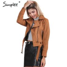 Simplee Apparel Zipper basic suede jacket coat 2016 motorcycle leather jacket Women outwear Pink belted short winter jackets