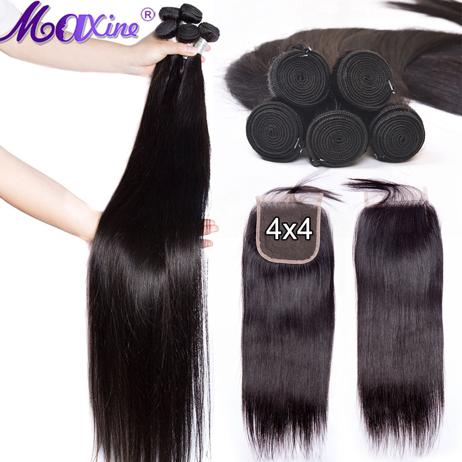 30 inch 40 inch Human Hair bundles with closure Straight Non Remy brazilian hair weave bundles 3 bundles Hair Extension Maxine-in 3/4 Bundles with Closure from Hair Extensions & Wigs    1