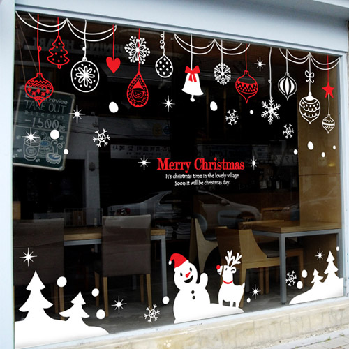 2016 christmas vinyl wall decal rings snowman christmas for Christmas wall mural plastic