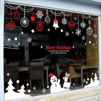 2016 christmas vinyl kalkomania ścienna pierścienie snowman christmas tree naklejka ścienna art sklep glass window deocr boże narodzenie home decoration