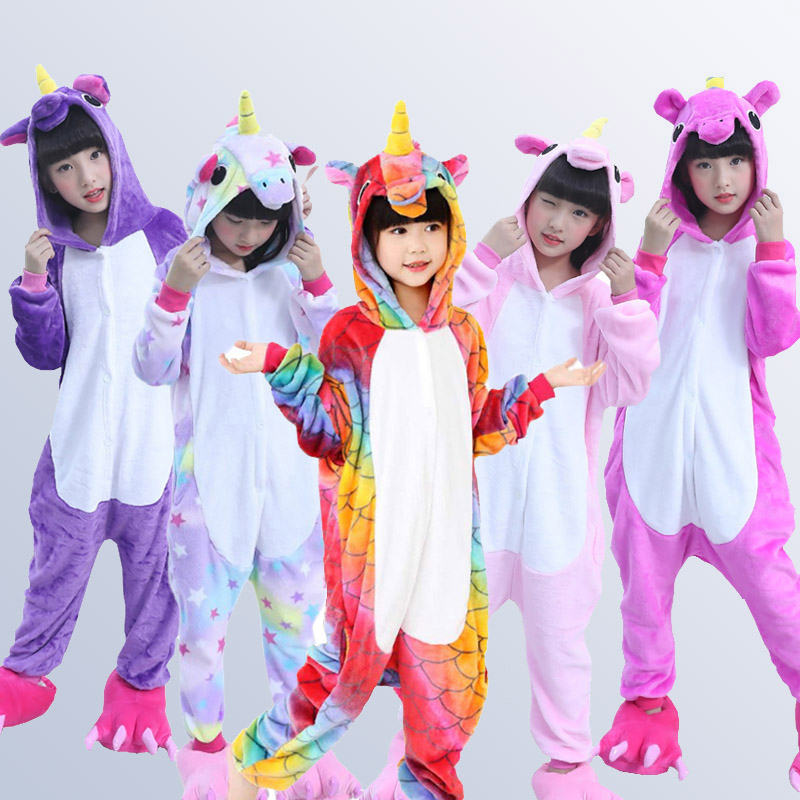 Pajamas Sleepwear Onesies Animal Stich Flannel Kigurumi Girls Winter Kids Boys Children's