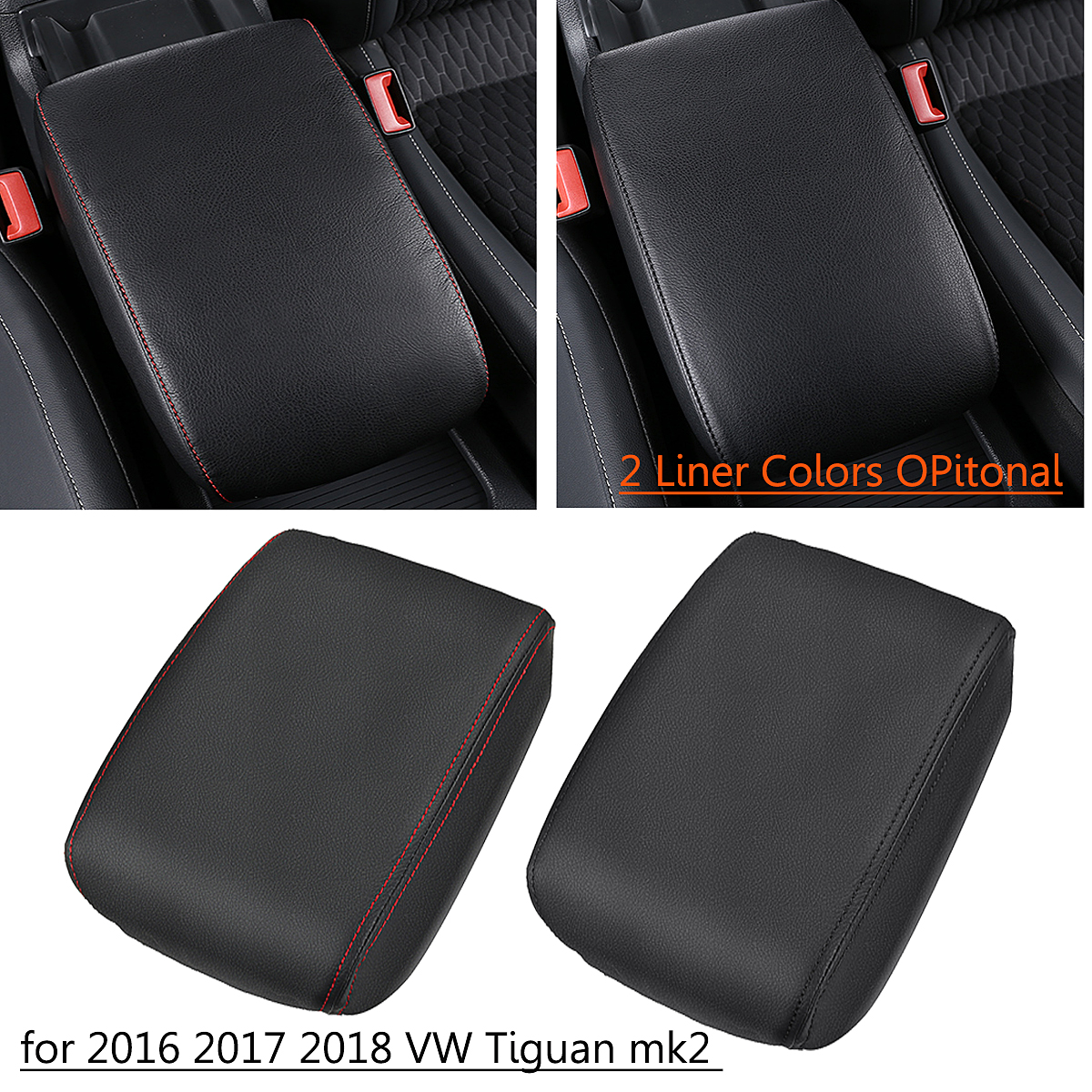 Car Center Console Seat Armrest Box Pads Cover PU Leather for Volkswagen VW Tiguan MK2 <font><b>2016</b></font> 2017 2018 Car Styling Accessories image