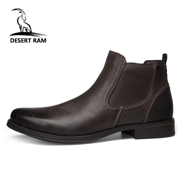 الصحراء RAM العلامة التجارية الرجال الأحذية جلد طبيعي أوكسفورد اللباس أحذية الذكور البريطانية تشيلسي الأحذية الرجال الشتاء الأعمال نقطة الأحذية