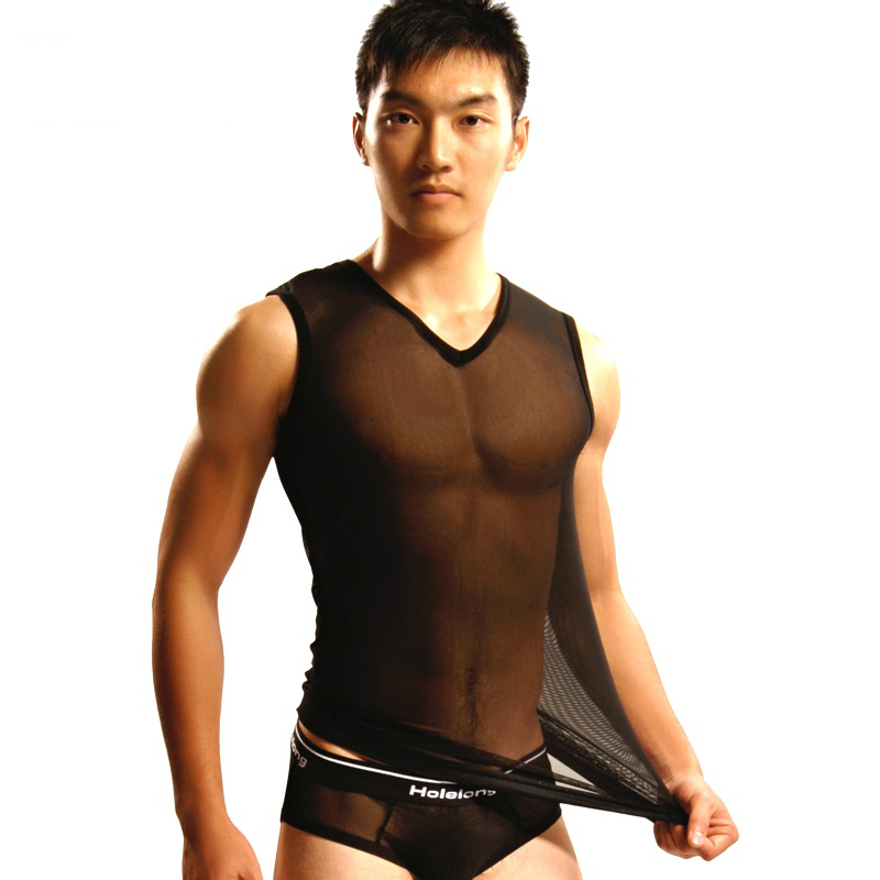 New men's Vest male breathable gauze tights men sexy