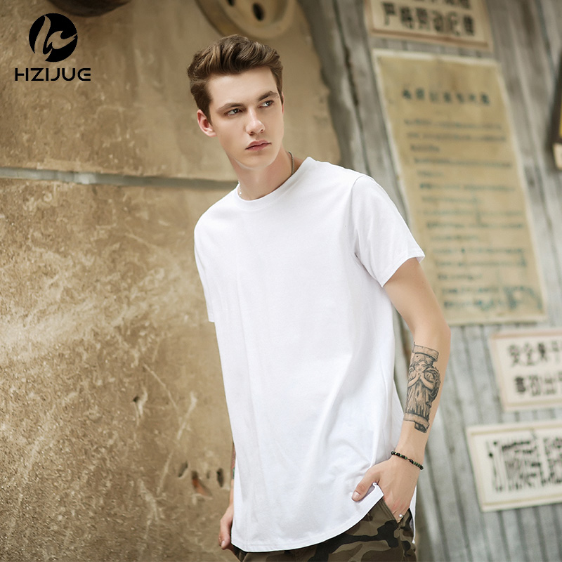 HZIJUE 2018 Hot Fashion Men Hip Hop Swag Long   T     Shirt   Oversized High Street Tops Tees Casual Tyga Extended Kanye   T  -  shirt