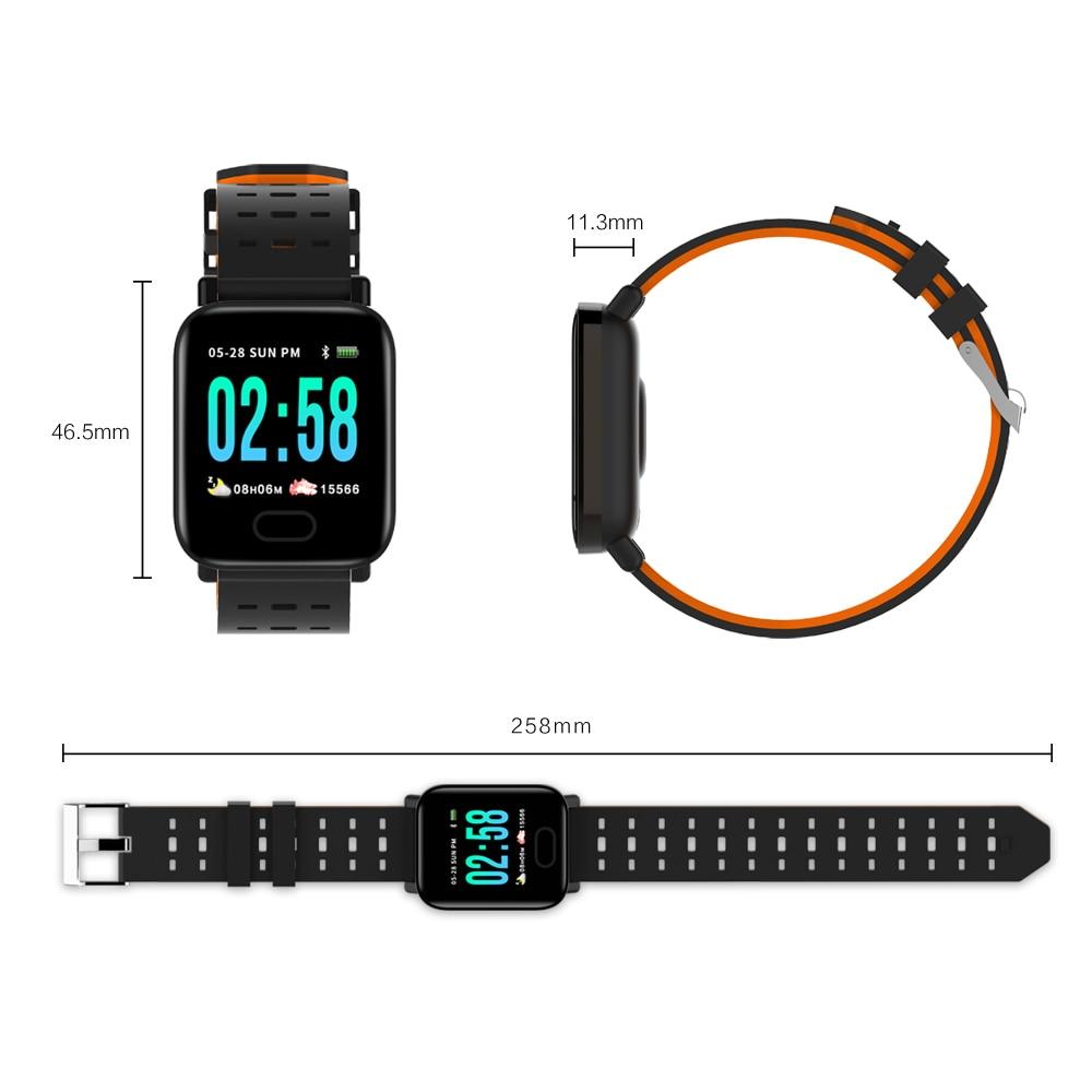 Image 5 - Фабрика A6 Смарт часы монитор сердечного ритма Спорт Фитнес трекер крови Давление напоминание Для мужчин часы для iOS Android подарок-in Смарт-часы from Бытовая электроника