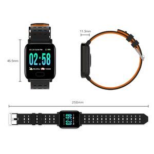 Image 5 - Usine A6 montre intelligente moniteur de fréquence cardiaque Sport Fitness Tracker rappel dappel de pression artérielle hommes montre pour iOS Android cadeau