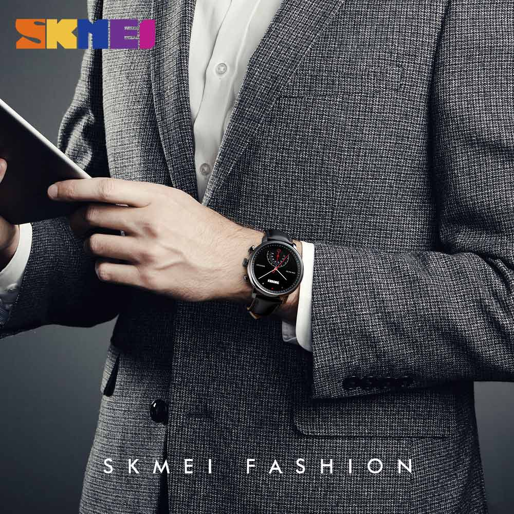 <font><b>SKMEI</b></font> Fashion Business Style Man Men's Quartz Wrist Watches Genuine Leather Watchband 30m Waterproof Wristwatch Relogio image