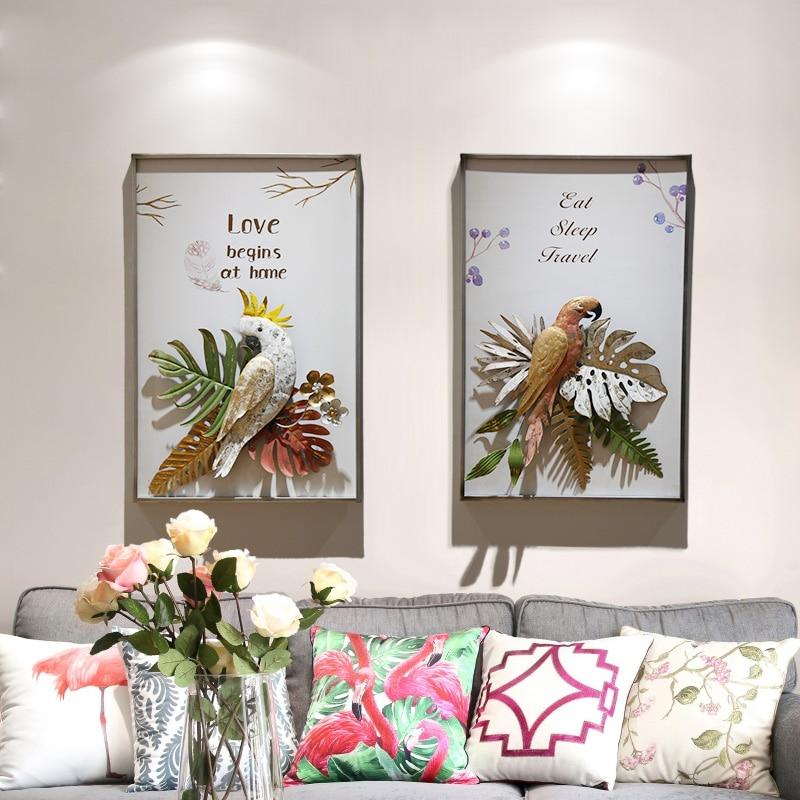 Idyllic стиль кованого железа Декор стены tion попугай крыльцо стерео гостиная задний план Настенный декор R1185