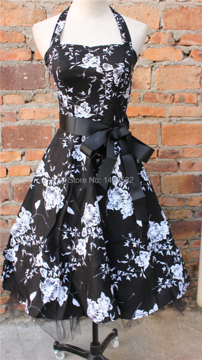 free shipping Ladies Womens New White Black Floral 50S Vtg Rockabilly Swing Party Prom DressBestdress