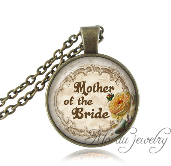 Винтаж ювелирные изделия Цитата ожерелье стекло кабошон женские колье бронзовые цепи для матери невесты ювелирных невесты подарки