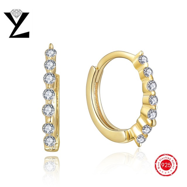 High Quality Yellow Gold Plated CZ Diamond Cubic Zircon Hoop Earrings for Women Fashion Wedding Jewelry Silver Earrings