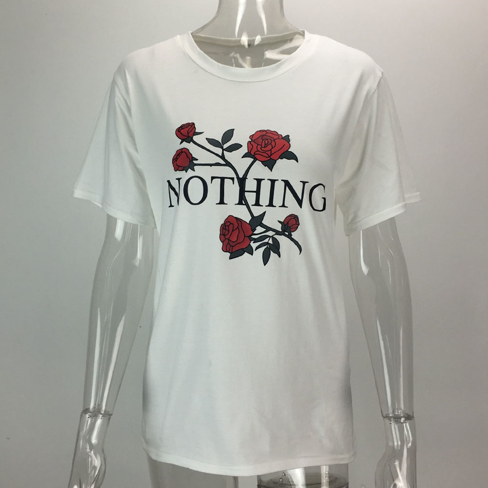 2017 Nothing Letter Print Rose T Shirt Women Summer Casual Short Sleeve TShirt Female Plus Size