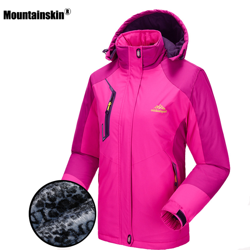 Mountainskin New Women's Winter Fleece Jackets Outdoor Waterproof Thick Hiking Camping Climbing Skiing Female Windbreaker VB041 yin qi shi man winter outdoor shoes hiking camping trip high top hiking boots cow leather durable female plush warm outdoor boot