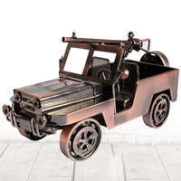 Nostalgic Tin Jeep Models Toys Metal Crafts Figurines Miniatures Home Office Decoration Iron Model for Living Room Small Ornamen