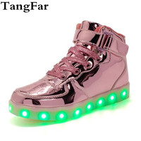 Children Luminous Sneakers USB Charger Glowing Sports Shoes Breathable Flashing Boy Girl High illuminated Leisure Sneaker 25 37