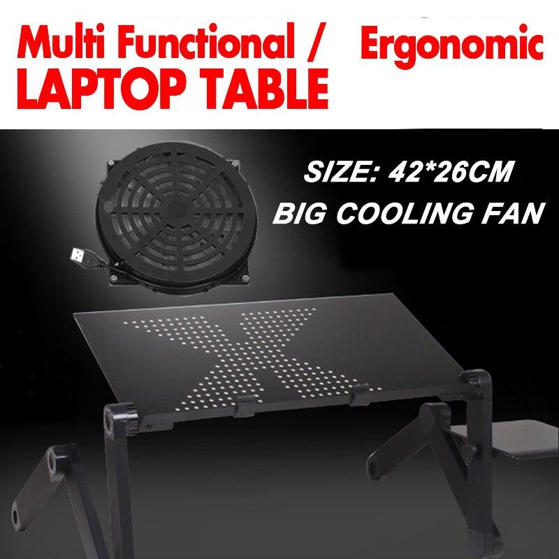360 rolling Portalbe suporte para notebook suporte para cama mesa Dobrável mesa portátil para a cama com um grande ventilador e mouse pad