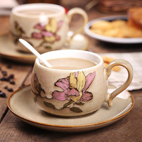 영어 오후 차 손으로 그린 홍화 커피 컵 높은 학년 세라믹 컵과 접시