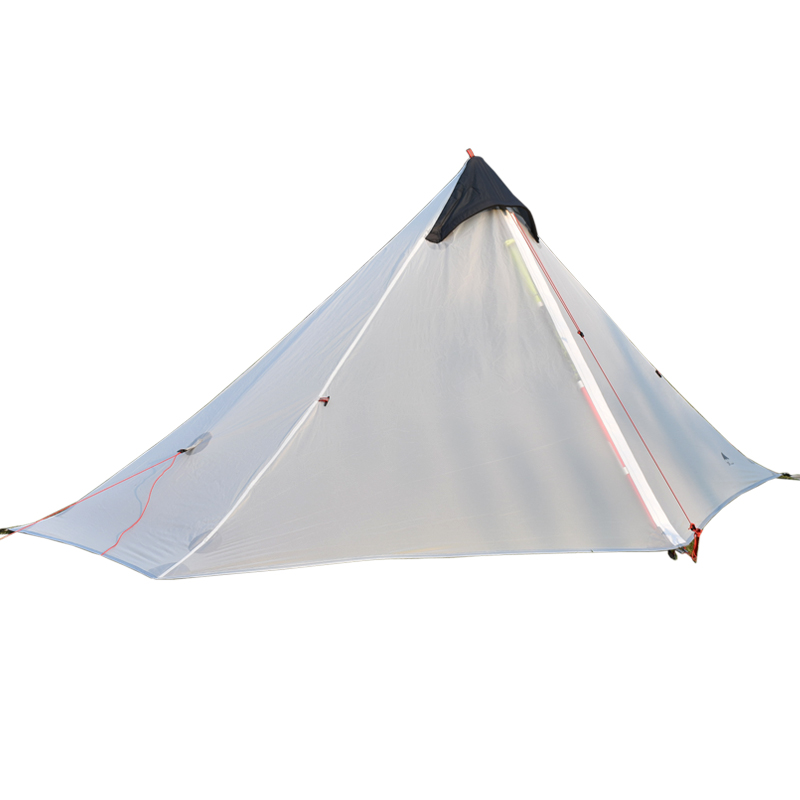 Outdoor Rodless Tent Ultralight 15D Silicone Single Person Camping Tent 1 Person 3 Season nylon tent 995g camping inner tent ultralight 3 4 person outdoor 20d nylon sides silicon coating rodless pyramid large tent campin 3 season