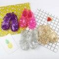18 Цвет Новый Летний Сандалии Мода Дети Дышащие Противоскользящие Сандалии Блеск Обувь для Девочек Mini Melissa Римские Обувь EUR 24-29