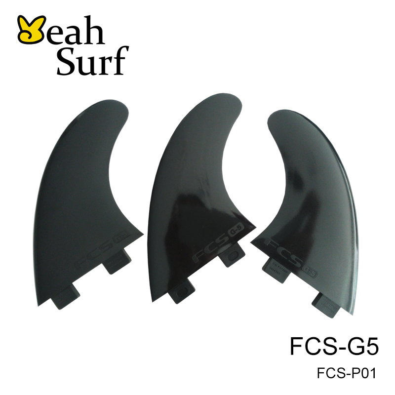 Surfing FCS G5 Palmes Noir Pure Color Plastique Quad Fin Surfboard - Sports nautiques