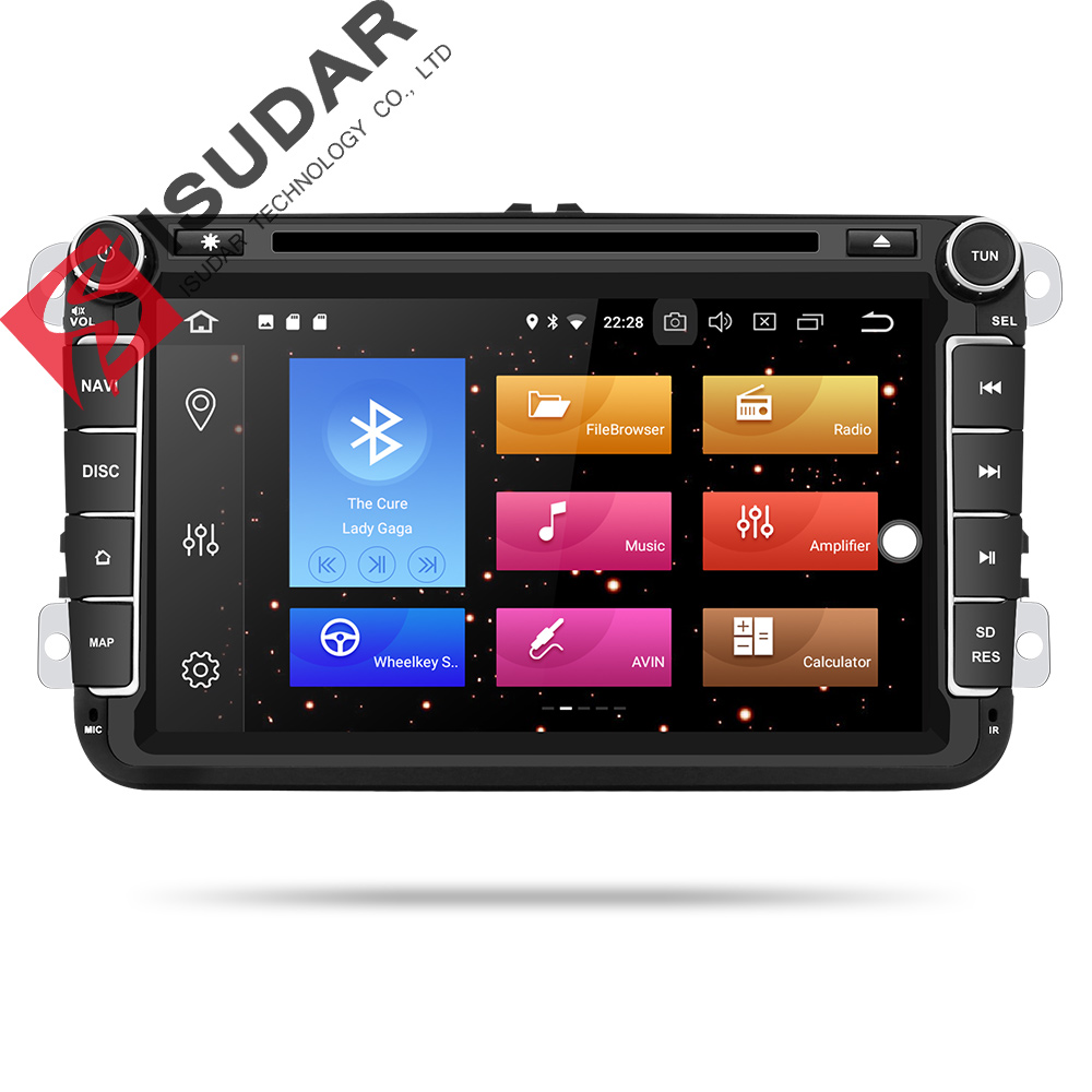 Lecteur multimédia de voiture Isudar GPS Android 9 2 Din pour VW/Volkswagen/POLO/PASSAT/Golf Radio caméra 8 Core ROM 64GB lecteur DVD DSP