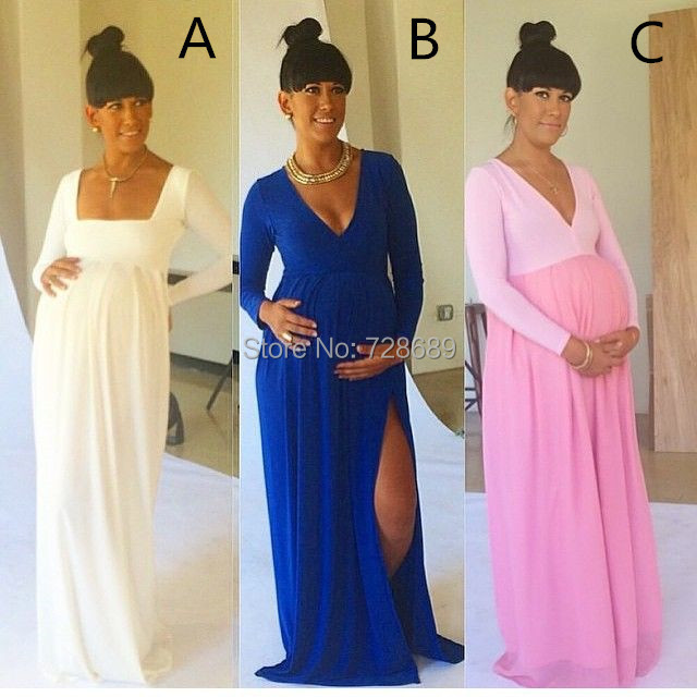 Attractive Side Slit V Neck Royal Blue Baby Shower Pregnant Dresses Sexy Royal Blue  Long Sleeves Maternity Dresses In Evening Dresses From Weddings U0026 Events On  ...