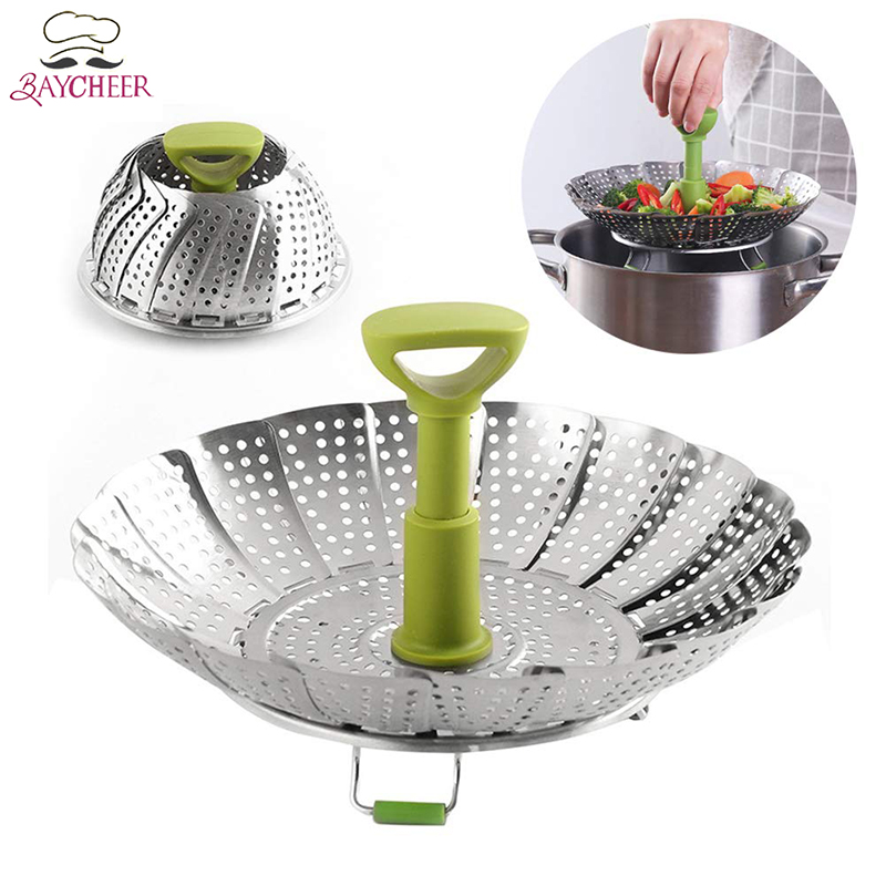 BAYCHEER Stainless Steel Folding Steamer Basket 11 Inch Telescopic Steamer For Vegetable Fish Kitchen Accessories Cooking Tool
