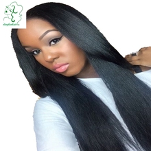 Virgin brazilian 130 density silky straight lace front wig with bleached knots glueless full lace wigs with baby hair for blacks