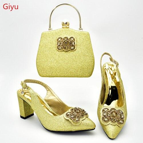 Doershow mode strass bas chaussures et sac Set plus récent femmes africaines bas talons pompes correspondant sac à main pour mariage!! SXD1-20