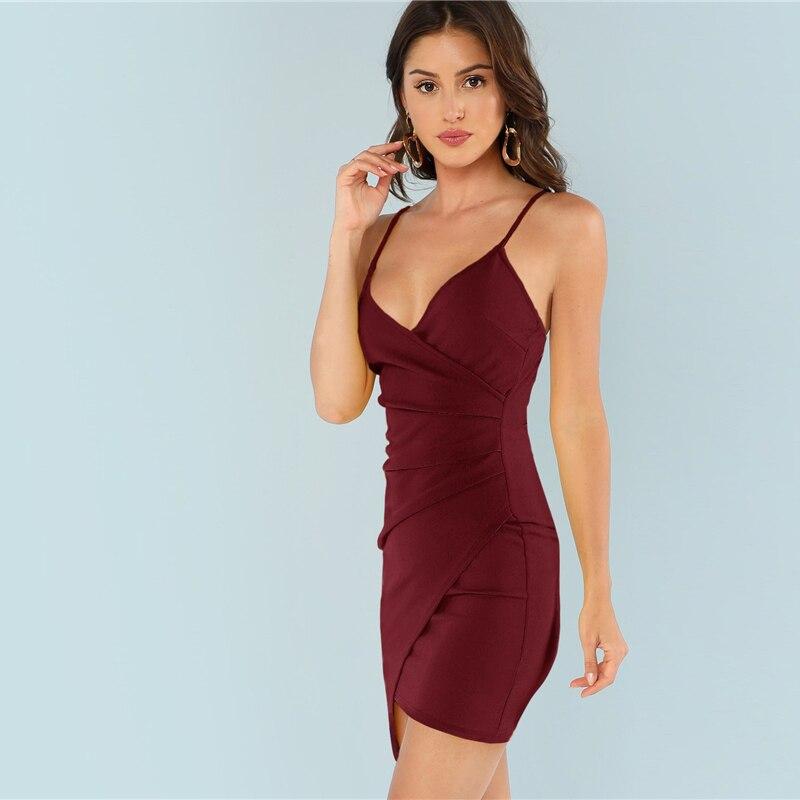 SHEIN Burgundy Ruched Side Asymmetrical Hem Cami Dress Elegant Solid Sheath Mini Dress Autumn Modern Lady Women Party Dresses 7