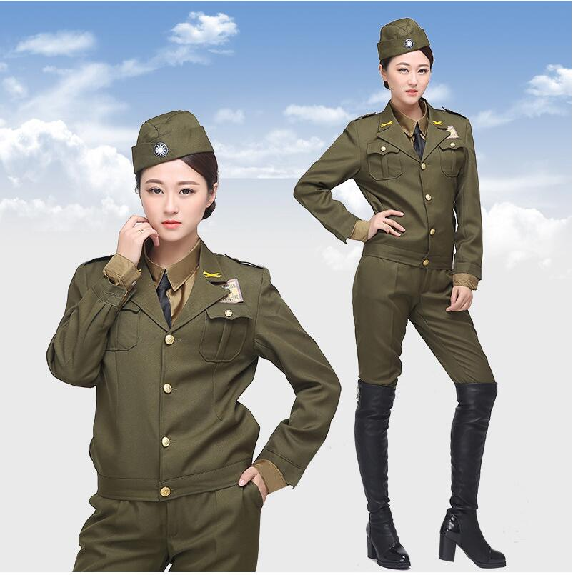 America Style national uniform military officers serving men and women in the Kuomintang police uniforms officers clothing show