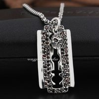 Razor Blade Dog Tag Ruby Skull 925 Sterling Silver Mens Biker Pendant 8Q025 Necklace 24inch
