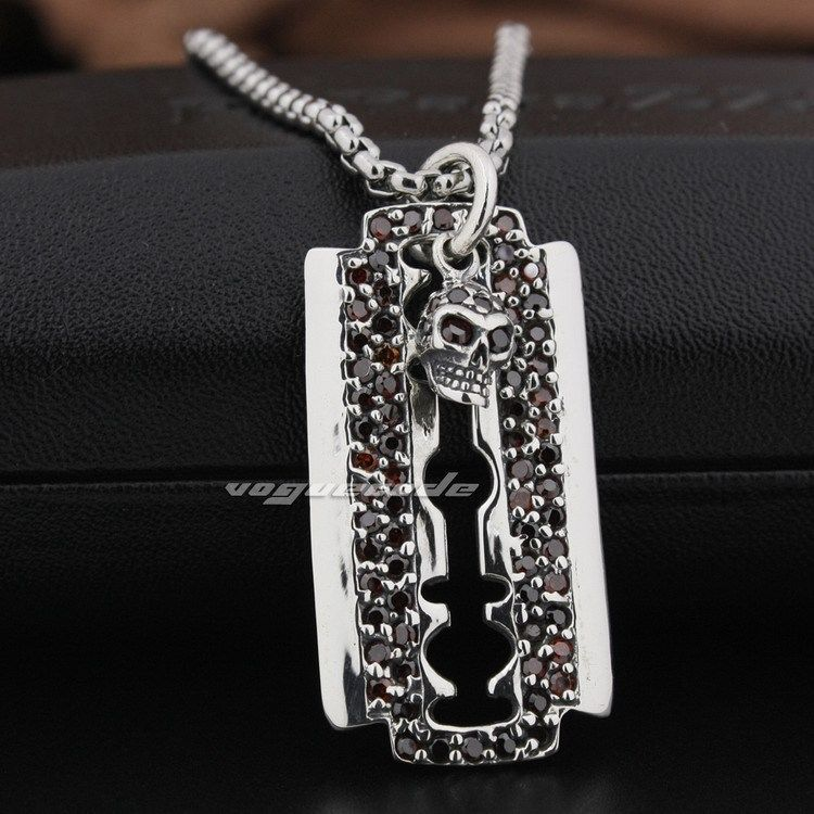 Razor Blade Dog Tag Red CZ Skull 925 Sterling Silver Mens Biker Pendant 8Q025 (Necklace 24inch) solid 925 sterling silver skull mens biker pendant 8c011 with matching stainless steel necklace