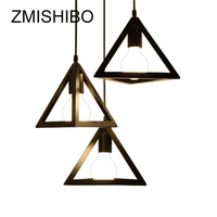ZMISHIBO American Style Pendant Lamp Triangle E27 220V Black 1 3 Lamps Ceiling Surface Mounted Porch