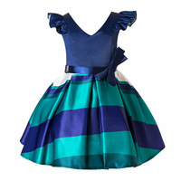 New Christmas Kids Party Wear Dresses For Girls Cotton V Neck Children Prom Gown Princess Dress