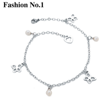 Top Quality Ankle Bracelet Sliver Plated Pulsera Pie Hollw Flower Vintage Beach Barefoot Jewelry Simulated Pearl Anklets Gift
