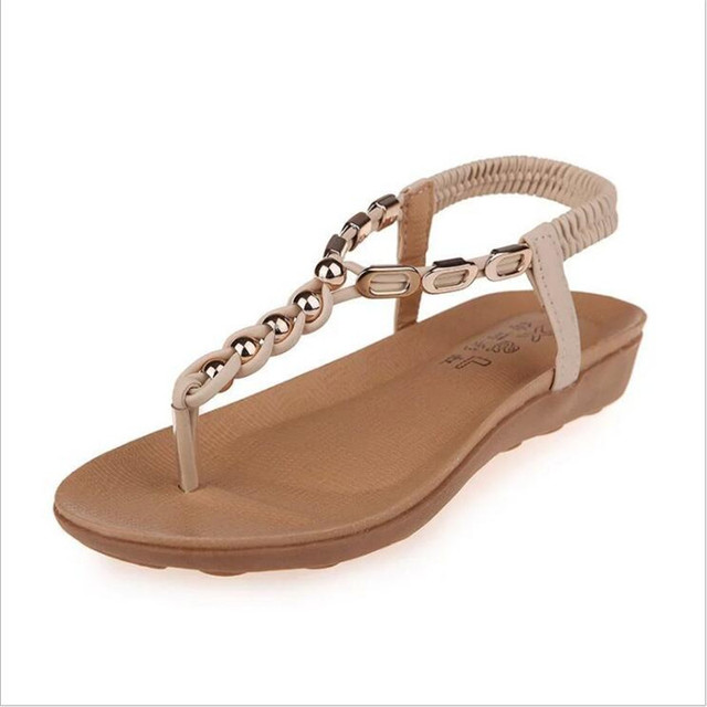 POADISFOO new 2017 Summer Bohemian beaded Chain Casual Soft  flat sandals female toe Roman shoes For Women .HYKL-8801