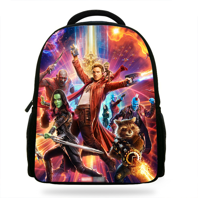 14Inch Fashion Kids Cartoon School Backpack Girls Guardians of the galaxy  Bag For Children Boys Book Bag